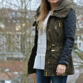 Khaki Green Jacket With Leather Sleeves