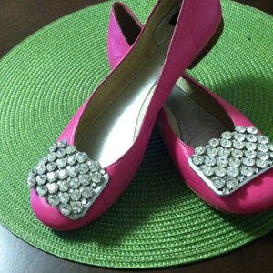 Shoes - Kate Spade hot pink rhinestone tip flats!