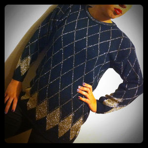 Sweaters - Vintage Gold Diamond Tunic Sweater