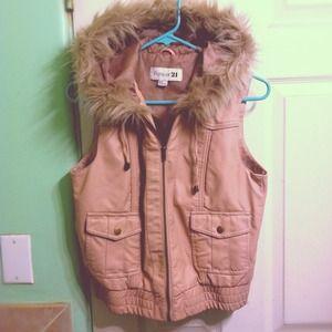 Jackets & Blazers - Pink Fur Hood Vest