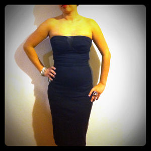Dresses & Skirts - SOLD: Bebe strapless pencil dress w leather