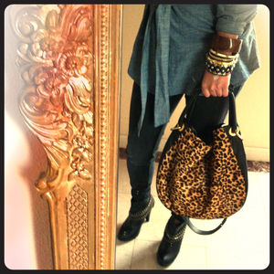 Handbags - Vince Camuto Leopard Leather hobo cross body purse