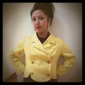 Jackets & Blazers - RESERVeD- Vintage yellow blazer  nautical earrings