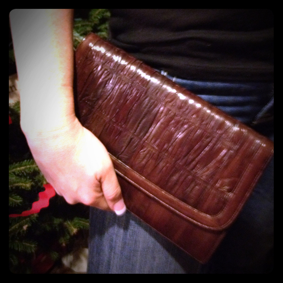 Vintage Clutches & Wallets - Vintage Brown Eelskin Clutch w Crossbody strap