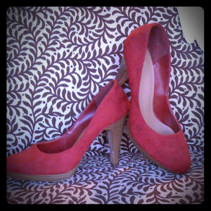 FIONI Shoes - RESERVED  Red Suede Pumps & Matching Earrings