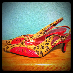 Shoes - Reserved! Jeffrey Campbell leopard slingback heels