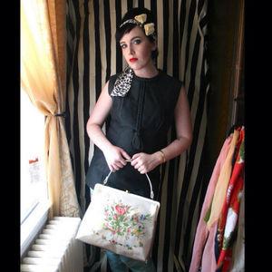 Vintage Plastic Embroidered Floral Handbag