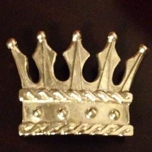 Crown Belt Buckle Silver Toned