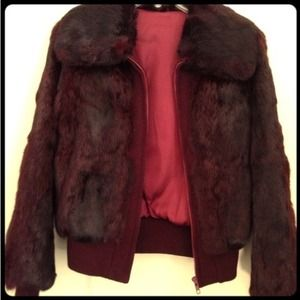Outerwear - Oxblood Color of the season! VTG Rabbit fur jacket
