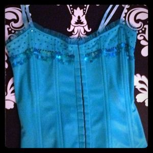 Marciano Tops - ✨FLASH SALE✨ MARCIANO TURQ. CORSET SEQUINS LACE