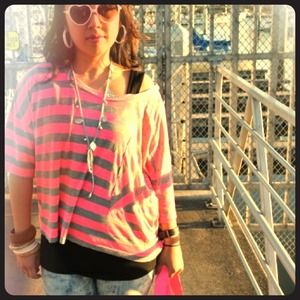Tops - Oversized Neon Pink And Gray Striped tee