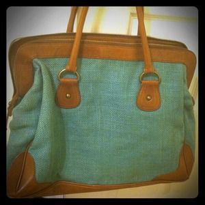 Aqua tweed handbag with camel leather trim