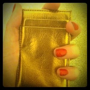 Bronze J Crew magic wallet