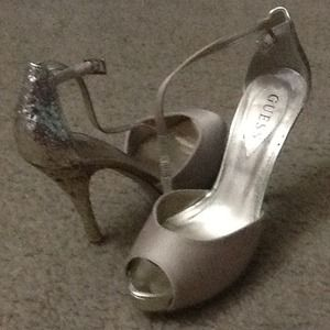 Gold and glittered sexy Guess heels-- size 6.5