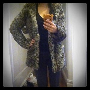 Topshop Outerwear - RESERVED Topshop Hooded Leopard Coat with pompoms