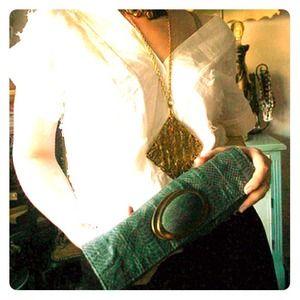 R&Y Augousti Green Leather/Stone Clutch