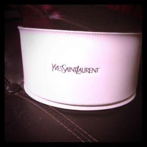 YSL Bright White Velvet-Lined Sunglasses Case