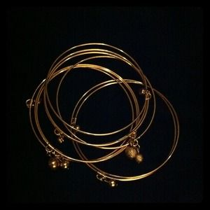 Jewelry - *REDUCED * Gold bangle bracelets w/ little balls..