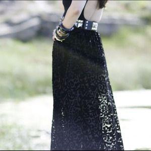 Burn out sheer maxi skirt