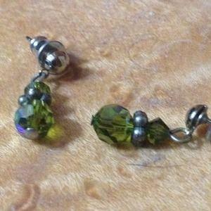 Green bead earrings & matching choker