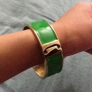 Green and gold enamel bangle