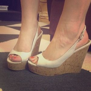 ALDO Shoes - White Leather Slingback Wedges