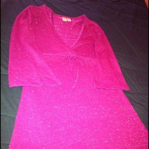 Tops - Magenta tunic top w/empire waist & bell sleeves