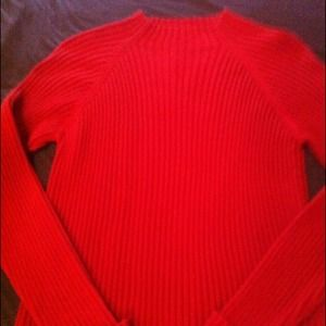 Sweaters - Crimson red ribbed mock neck sweater