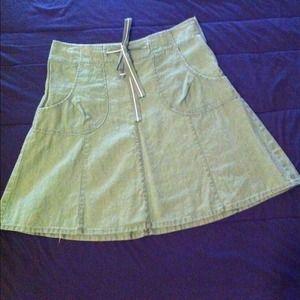 Sage green linen A-line skirt