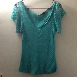 Beautiful A X sparkly turquoise crocheted top