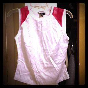 Reduced-White and hot pink silk and mesh top