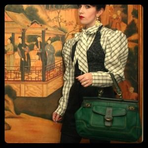 ON HOLD for cpe2 only- Green Leather Coach Handbag