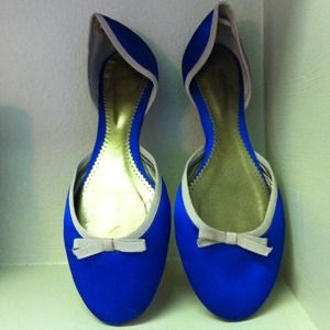 Reserved- Blue satin flats with bow accent