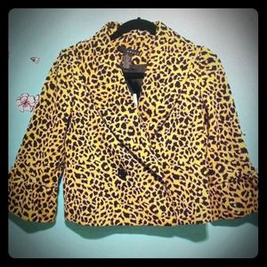 grace  Jackets & Blazers - SOLD- Leopard blazer with rolled collar