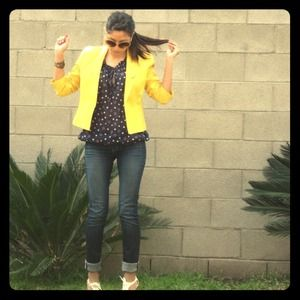 Jackets & Blazers - Yellow linen blazer reserved for @closetfreak