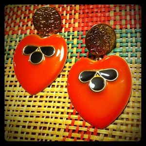 Tribal arrowhead earrings- orange