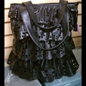 Layer Laser Cut Lace Ruffle Bag
