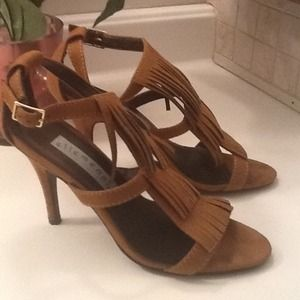 Shoes - Reduced Price! Tan/Brown Suede-like Fringe Heels