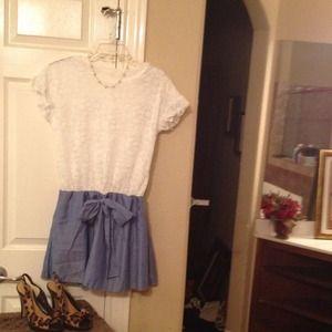 Lace & chambray twofer mini dress!  NWOT!  Small