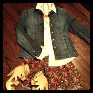 Fossil Jackets & Blazers - Fossil Denim Ruffle Trim Jacket