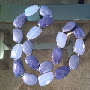 Chunky periwinkle blue stone statement necklace