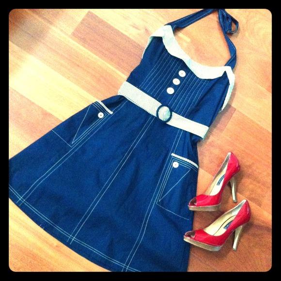 SOLD! Anthropologie retro halter dress