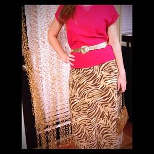 Wild Cat Silk Maxi Skirt