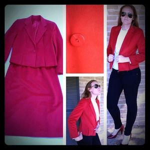 Vintage Candy Apple Red Microsuede Skirt Suit