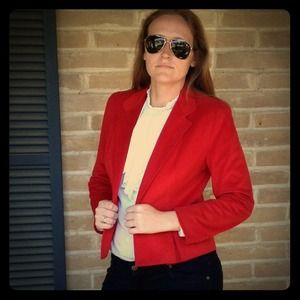 Vintage Candy Apple Red Microsuede Blazer