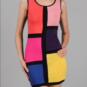 Small color block fitted dress