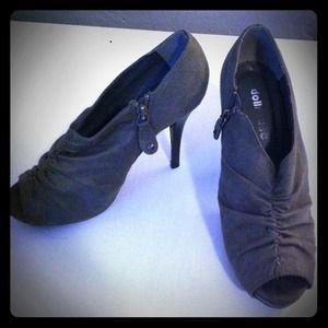 Grey suede peep toe heels.