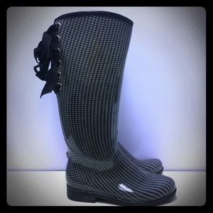 Boots - Däv houndstooth rainboots with corset ties