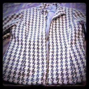 Black, white and black tweed jacket