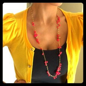 J. Crew Jewelry - J. Crew hot pink bead cluster necklace